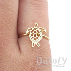 Sea Turtle Tortoise Shaped Adjustable Ring in Gold