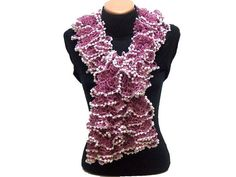 Hand knitted rose pink ruffled scarf by Arzus on Etsy, $19.90