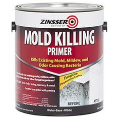 This mold-killing primer contains anti-microbial agents so you can paint over existing mold, mildew, moss, fungi, odor-causing bacteria and other fungal organisms. Mold On Bathroom Ceiling, Mold In Bathroom, Bathrooms, Wall Molding, Diy Molding, Get Rid Of Mold, Remove Mold, Mildew Remover, Bathtub Drain