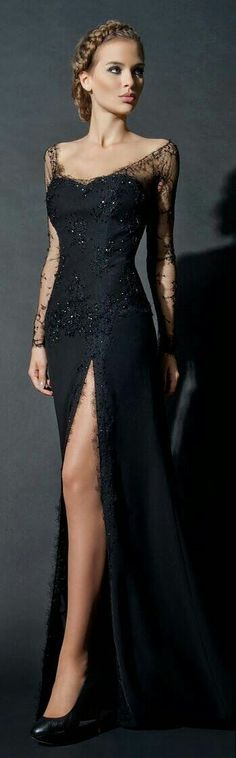Gorgeous long black dress with lace sleeves. It looks so elegant and classy! -- This looks like a dark version of Elsa's dress from Frozen! Lace Dresses, Elegant Dresses, Pretty Dresses, Prom Dresses, Dress Prom, Formal Dresses, Dresses 2016, Bridesmaid Dresses, Dresses Online