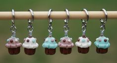 Cupcake Stitch Markers  Blue and Brown  Set of 6 by jlyarnworks, $12.00