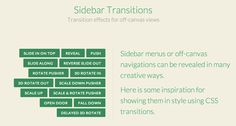 Sidebar Transitions Transition effects for off-canvas views