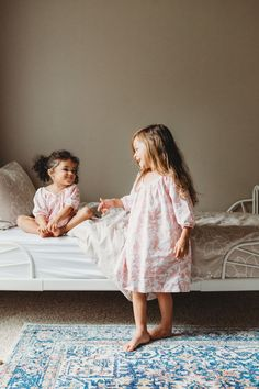 100% Cotton Girl's Pink Floral Nightgown by La Paloma - Matching Sister Nightgowns / Pajamas