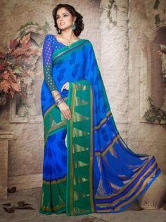 Blue Georgette Saree With Print Work www.saree.com