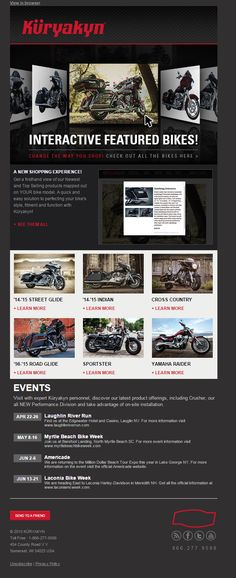 Kuryakyn's 4/23/15 email (telling the story of new website functionality and upcoming events) SL: Interactive Featured Bikes - Change the Way You Shop!