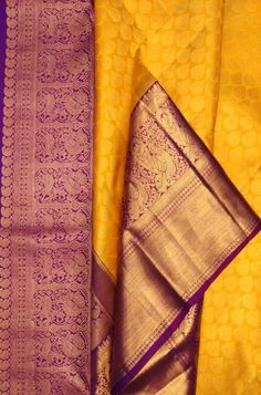 Online shopping from a great selection at Clothing & Accessories Store. Kanchipuram Saree Wedding, Kanjivaram Sarees Silk, Kota Silk Saree, Pure Silk Sarees, Cotton Saree, Wedding Sarees, Saree Kuchu Designs, Bridal Blouse Designs, Yellow Saree