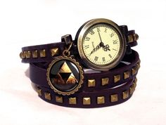 Leather watch bracelet - ZELDA TRIFORCE, 0531WDBC  from EgginEgg by DaWanda.com