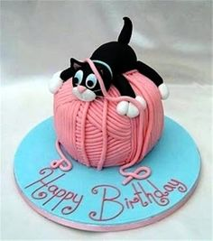 Birthday kitty cat cake Sculpted Cakes Pinterest Birthday