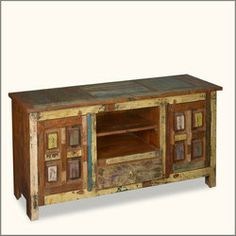 Primitive Painted Blocks Reclaimed Wood TV Cabinet Media Center