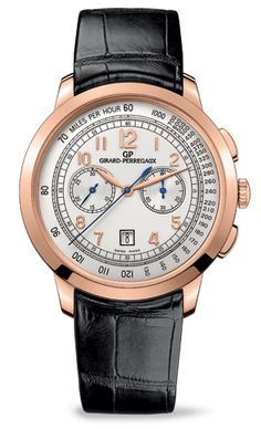 Girard-Perregaux - 42mm 1966 Chronograph wrist watch in Pink Gold.  New proportions. Performance guaranteed by Girard-Perregaux's technical expertise. Perfect readability. The Girard-Perregaux 1966 chronograph has now adopted a case with a diameter of 42 millimetres to make room for the measurement of short time periods. The model's discreet, classic elegance blossoms on a new dial that extols the virtues of functionality. http://www.luxuriousmagazine.com/?p=13415