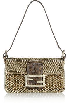 5aa37bbb3408 Fendi - Baguette Mini snake-trimmed beaded bag