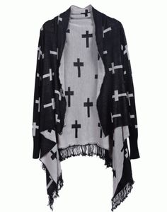 Length(cm) />Sleeve Length(cm) />Size Available :One Size<br />Season :Fall<br />Item :Cardigan<br />Color :Black<br />Material :Cotton<br />Style :Stylish<br />Sleeve Length :Long Sleeve<br />Types :Loose<br />Pattern Type :Print Cross Patterns, Types Of Sleeves, Sleeve Types, Cotton Style, Sweater Cardigan, Tassels, Kimono Top, Sweaters, Cardigans