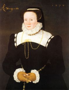 Date 1575  Circle of Cornelis Ketel (1548–1616)  Cornelis Ketel  Title Portrait of Mary Tresham, Lady Vaux of Harrowden (1545-1597)  Medium oil on panel  Dimensions 3.51 × 24.5 in (8.9 × 62.2 cm)  Inscriptions Caption top left: A de 30.ans 1575.  Check out the fingerless gloves.