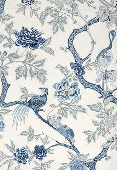 Arbre Chinois Porcelain 174081 by Schumacher Fabric Linen - Horizontal: 27 and Vertical: 47 54 - Fabric Carolina - Blue And White Fabric, White Fabrics, Blue Fabric, Chinoiserie Wallpaper, Fabric Wallpaper, Chinoiserie Fabric, Bedroom Wallpaper, Oriental Wallpaper, Bird Wallpaper