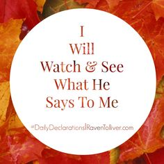 #DailyDeclarations I Will Watch & See What He Says To Me *I will stand at my watch and station myself on the ramparts; I will look to see what he will say to me, and what answer I am to give to this complaint.-Habakkuk 2:1  #Scriptures #SpeakLife #Affirmations #BritChadashah #Faith #Hope