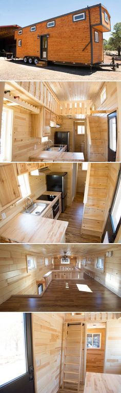 From Arizona-based Tiny Treasure Homes is this custom 30-foot traditional style tiny house on wheels with a main floor bedroom and two huge sleeping lofts.