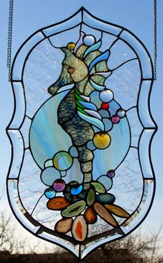 Stained Glass Window Screen Sea Horse Sea King Tiffany Technology | eBay