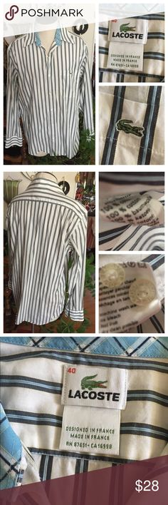 """LACOSTE Blue & White Striped Long-Sleeve Shirt🎉HP LACOSTE crisp Blue & White Striped Shirt. 100% cotton. Size 40 = USA Size M. See size chart in pics. In excellent preowned condition. Smoke-Fred home. 🎉🎉"""" MEN's STYLE PARTY"""" Host Pick 🎉🎉 Lacoste Shirts Dress Shirts"""