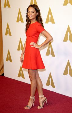 What to wear to a luncheon. Alicia Vikander in Louis Vuitton