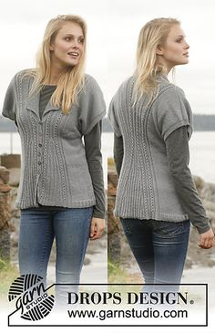 Knit-149-20 Morning Fog - Jacket with textured pattern, collar and short sleeves in BabyAlpaca Silk