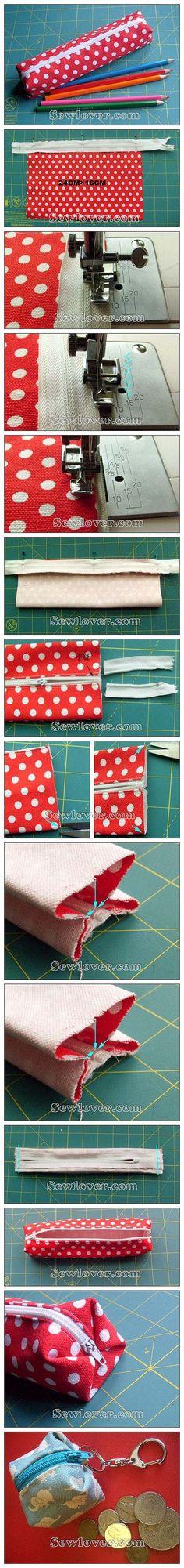 DIY pencil bag or cube coin bag with zipper! very cute! :D tolltartó Sewing Hacks, Sewing Tutorials, Sewing Patterns, Fabric Crafts, Sewing Crafts, Sewing Projects, Diy Crafts, Pencil Bags, Pencil Pouch