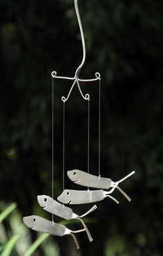Shark Wind Chimes recycled from Vintage Flatware by NevaStarr on Etsy