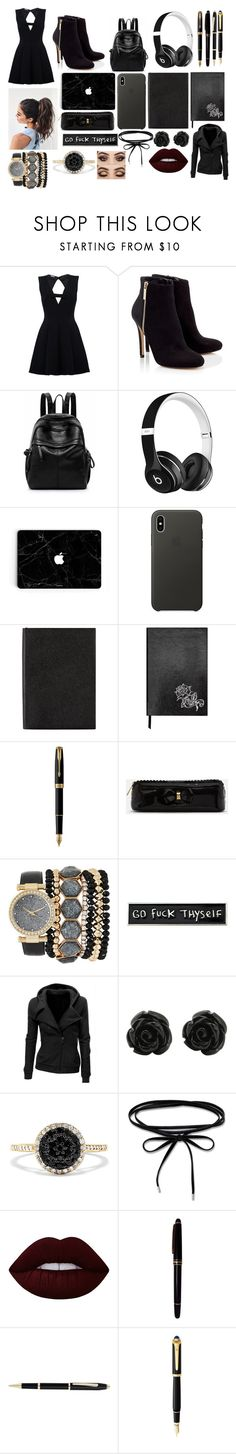 """Untitled #148"" by aurora-agrest ❤ liked on Polyvore featuring Lipsy, Beats by Dr. Dre, Apple, Smythson, Sloane Stationery, Parker, Ted Baker, Jessica Carlyle, RIPNDIP and Effy Jewelry"