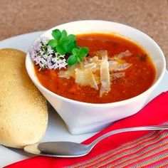 Chunky Fresh Tomato Oregano Soup - a recipe to deliciously use up surplus summer tomatoes while they are at their seasonal best; so bright, fresh and tasty. Kinda makes you want a grilled cheese sandwich, huh? by katie