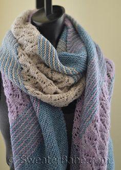Linen and Lace Shawl Knitting pattern by Lace Knitting Patterns, Shawl Patterns, Loom Knitting, Lace Knitting Stitches, Loom Patterns, Wrap Pattern, Linens And Lace, Garter Stitch, Knitted Shawls
