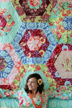 Amy Butler fabrics made into a quilt