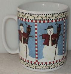 Sakura Debbie Mumm Snowman Mug Christmas Jumbo White Blue Coffee Cup Holiday  ~ This Item is for sale at LB General Store http://stores.ebay.com/LB-General-Store ~Free Domestic Shipping ~