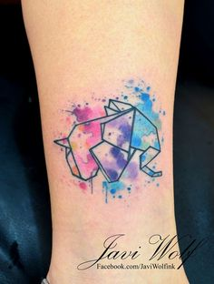 Origami Elephant in Watercolors by Javi Wolf - Tattoos for Women - Origami Elephant in Watercolors by Javi Wolf More - Origami Tattoo, Origami Elephant Tattoo, Watercolor Elephant Tattoos, Watercolor Tattoo Artists, Abstract Watercolor, Mini Tattoos, Trendy Tattoos, Love Tattoos, Unique Tattoos