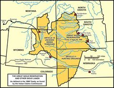 As a result of the Sioux Treaty of 1868, the Great Sioux Reservation was established. A 25 million acre tract of land was set aside for the Lakota and Dakota by the US government.  This tract of land became the Great Sioux Reservation and was made up of all the land in South Dakota west of the Missouri River.  As part of the treaty the Dakota and Lakota were also permitted to hunt in areas of Nebraska, Wyoming, Montana, and North Dakota.