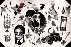 Addams Family Flash Sheet Print A4   ☽ ShopMoonChild ☾