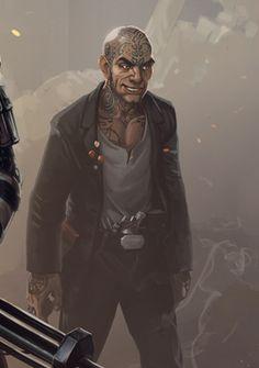 male human with tatooed skull; shadowrun, cyberpunk