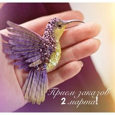 Miniature hand painted natural silk and cotton beaded 'LAVENDER HUMMINGBIRD' textile brooch ....................................................................................... by Julia Gorina