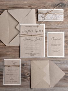 Natural recycling paper Wedding Invitation by 4LOVEPolkaDots
