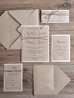 Papier de recyclage naturel fairepart de mariage par DecorisWedding