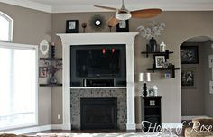 Valspar Hot Stone. Nice greige. Looks beige in some pics and gray in others. Could use Ancient Stone for the ceiling.