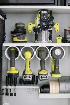 Garage Tool Storage and Organization Ideas - Tidbits - autotalli/varasto Tool Storage Cabinets, Garage Tool Storage, Garage Tools, Diy Garage, Garage Cabinets, Garage Shop, Tool Pegboard, Bike Storage, Closet Storage