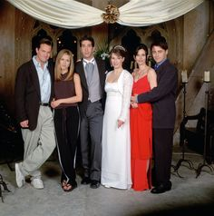 "The cast on set. ""I Ross, take thee Rachel..."""