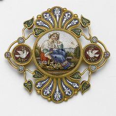 Gold micro mosaic brooch, ca.1870.