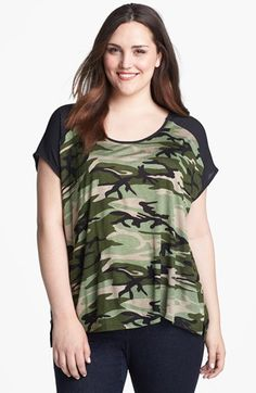 Bobeau Camo Print Tee (Plus Size) available at #Nordstrom