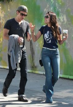 Paul Wesley and Torrey DeVitto with friends out and about SoHo, New York.