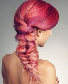 pink and red hair colors with fishtail braid