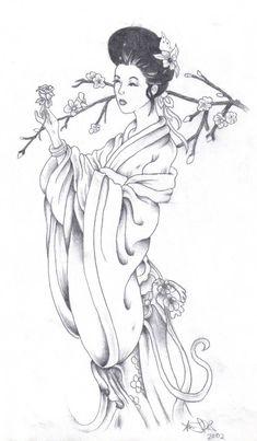 Geisha Sketch by mysanity on DeviantArt Japanese Drawings, Japanese Tattoo Art, Japanese Prints, Easy Drawings, Geisha Drawing, Geisha Art, Pattern Coloring Pages, Free Adult Coloring Pages, Japanese Geisha