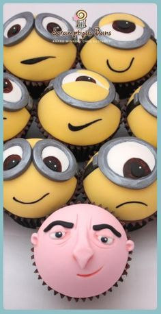 #Minions & #Gru #Faces #Cupcakes! We love and had to share! Great #CakeDecorating