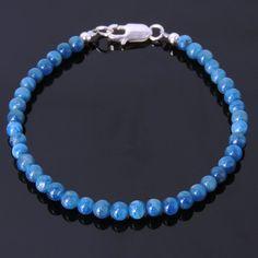 Handmade Men/Women Bracelet Blue Apatite Gemstone S925 Sterling Silver Clasp #DIYKAREN #MenWomenGemstoneS925SterlingSilverBracelet
