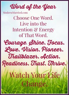 New Year! Time for Intentions instead of Resolutions. Choose a Word of the Year to guide you through the twists and turns of this brand, new shiny year! Click the pin to read more - it's easy and fun.   New Year Quotes, New Year Resolutions, Christine Kane, Word of the Year, life coach, coaching