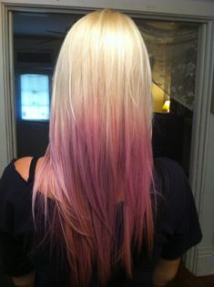 """Ombre hair is a very hot trend, popular with celebrities like Rachel Bilson and Olivia Wilde. """"Ombre"""" refers to something that gradually changes from one color to another; hair that gradually changes from brown to blonde, or from blonde to red, is a. Pastel Blonde, Dyed Hair Pastel, Blonde Ombre, Best Ombre Hair, Pink Ombre Hair, Purple Ombre, Auburn, Bobs, Pretty Hairstyles"""